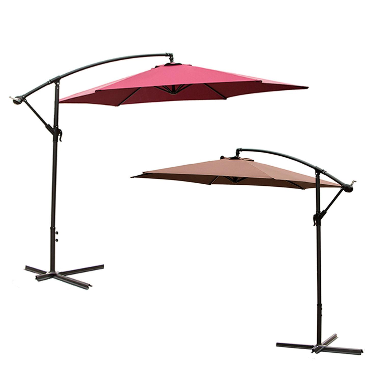 Details About 2 Color 10 Ft Outdoor Patio Umbrella Offset Hanging Beach Steel Tilt