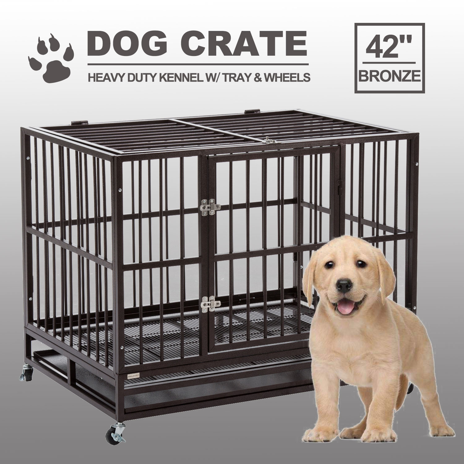 42 Quot Dog Crate Kenel Heavy Duty Pet Cage Playpen W Tray