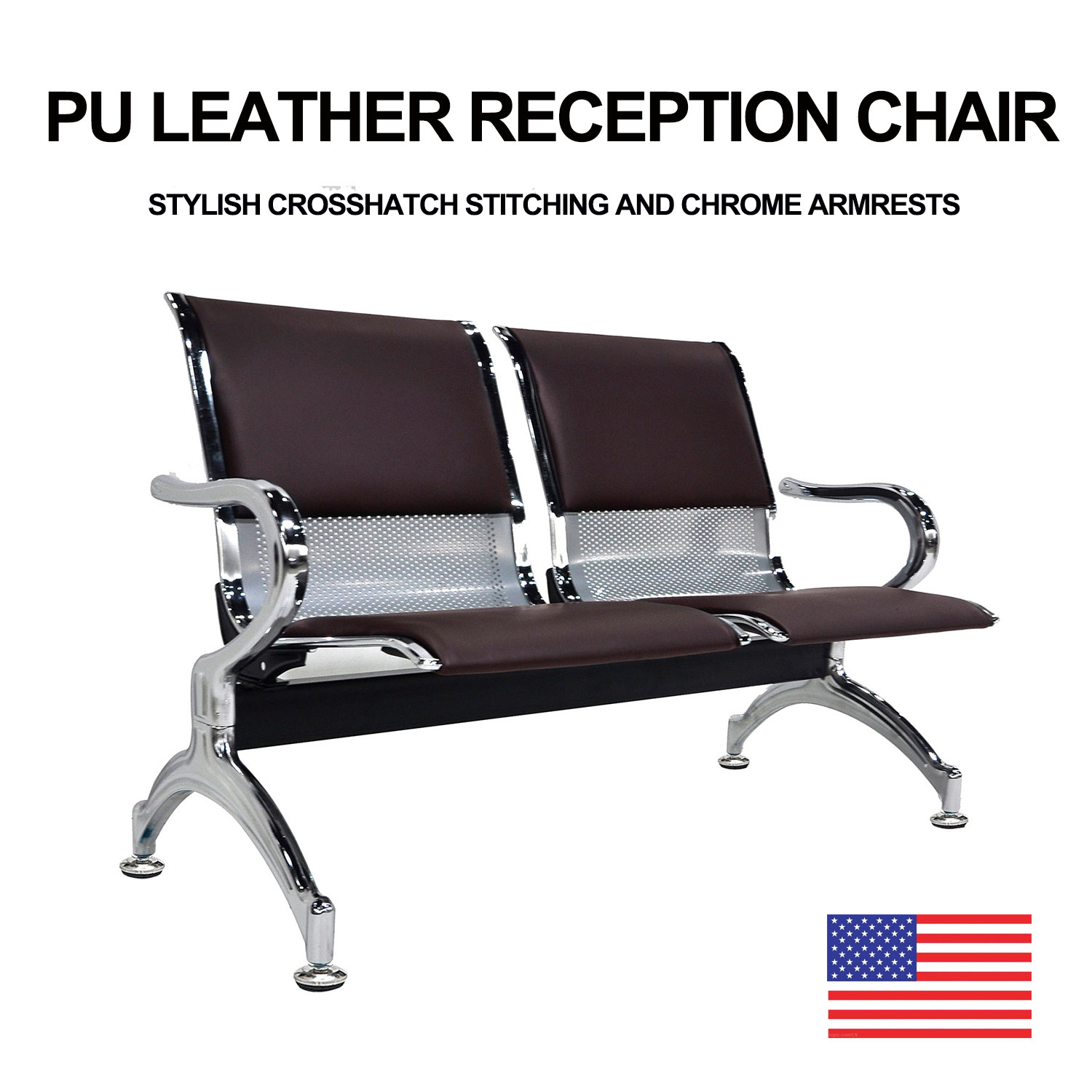 Swell Details About 2 Seat Bench Airport Heavy Duty Waiting Room Chair Brown Pvc Leather Cushion Short Links Chair Design For Home Short Linksinfo