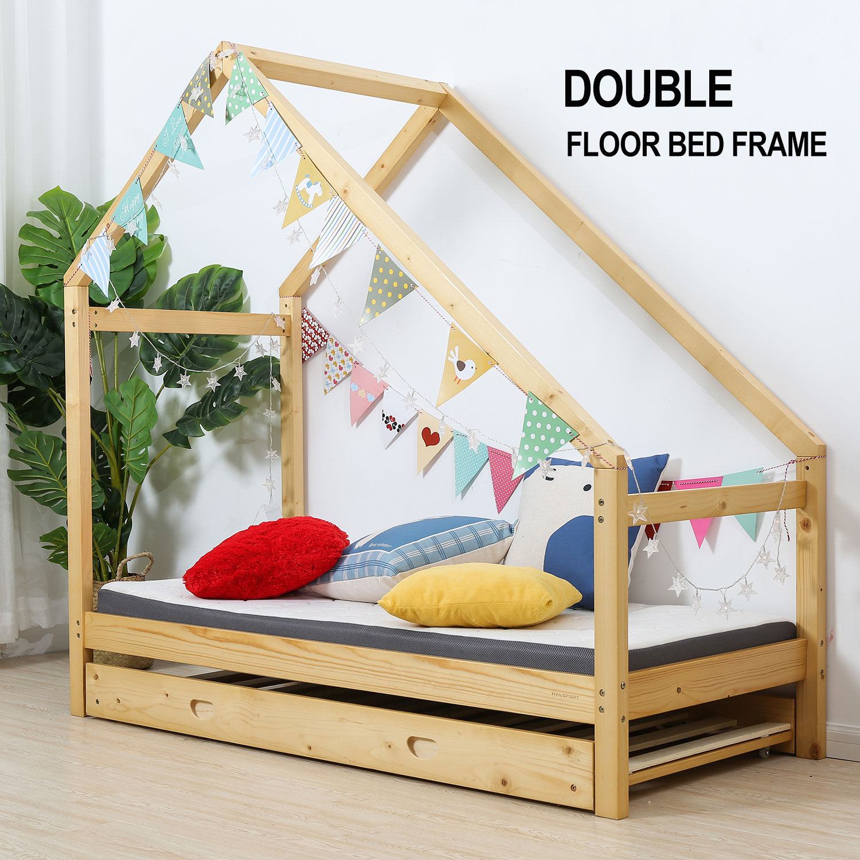 Details About Double Children Floor Bed House Frame Wood Kids Poster Bedroom Furniture