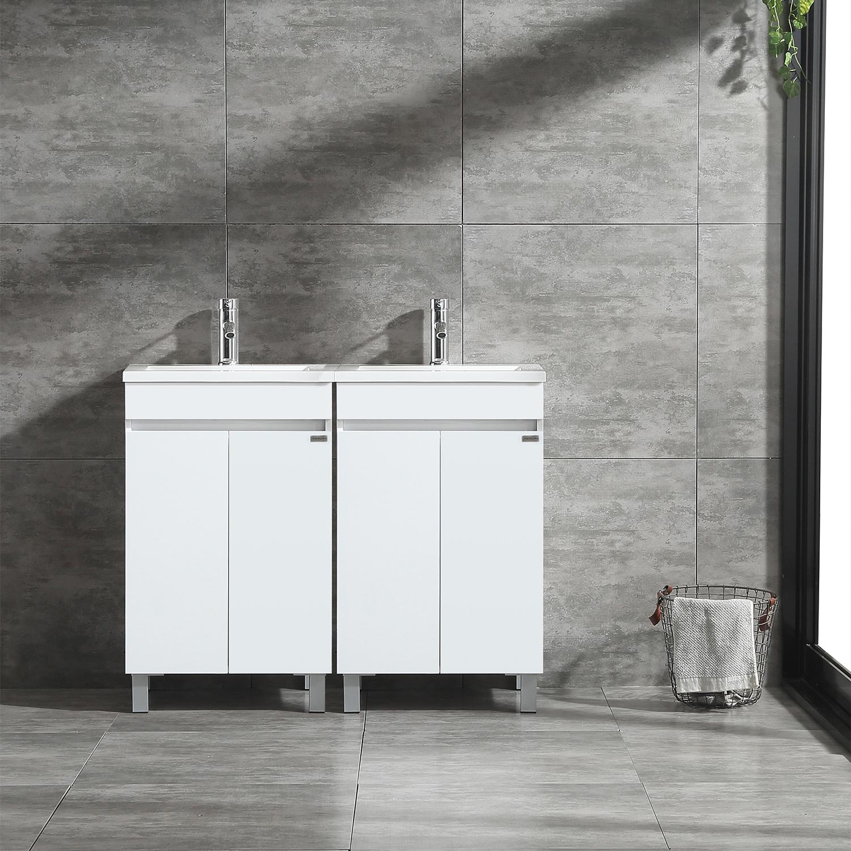 . Details about 40   Double Sink Bathroom Vanity Wood Cabinet Under Mount  Basin Top Faucet Combo
