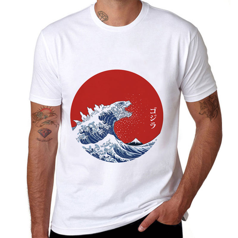 Kanagawa Surfing Men/'s Cotton Funny Cool T-shirts Short Sleeve Tops Tee