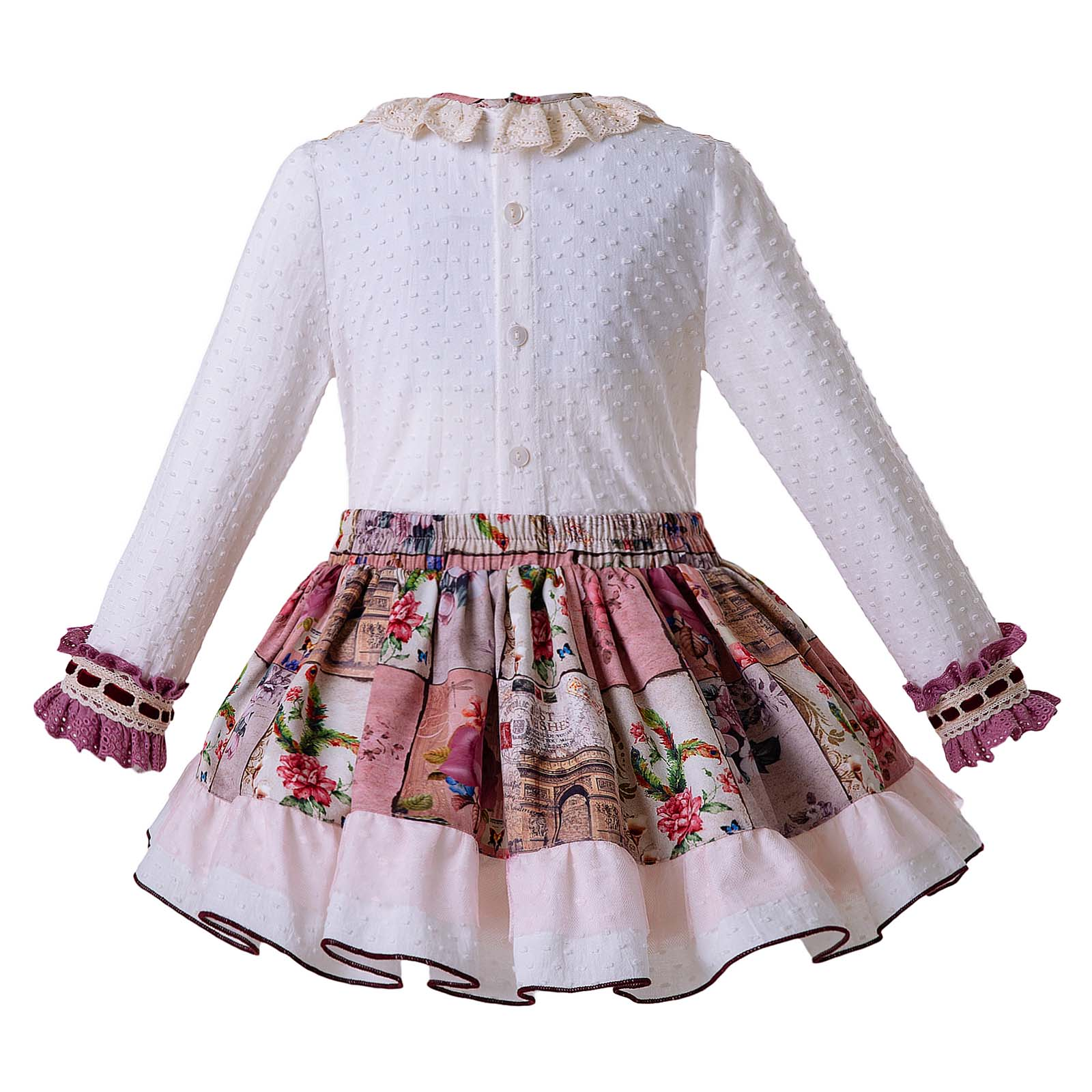 Kid Girl Spanish Flower Dress With Headband Spring Long Sleeve Party Pageant 2-8