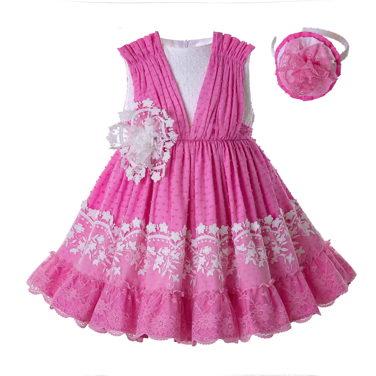Spanish Kids Girls Floral Pleated Dress Boutique Party Pageant Prom Summer 2-8 Y