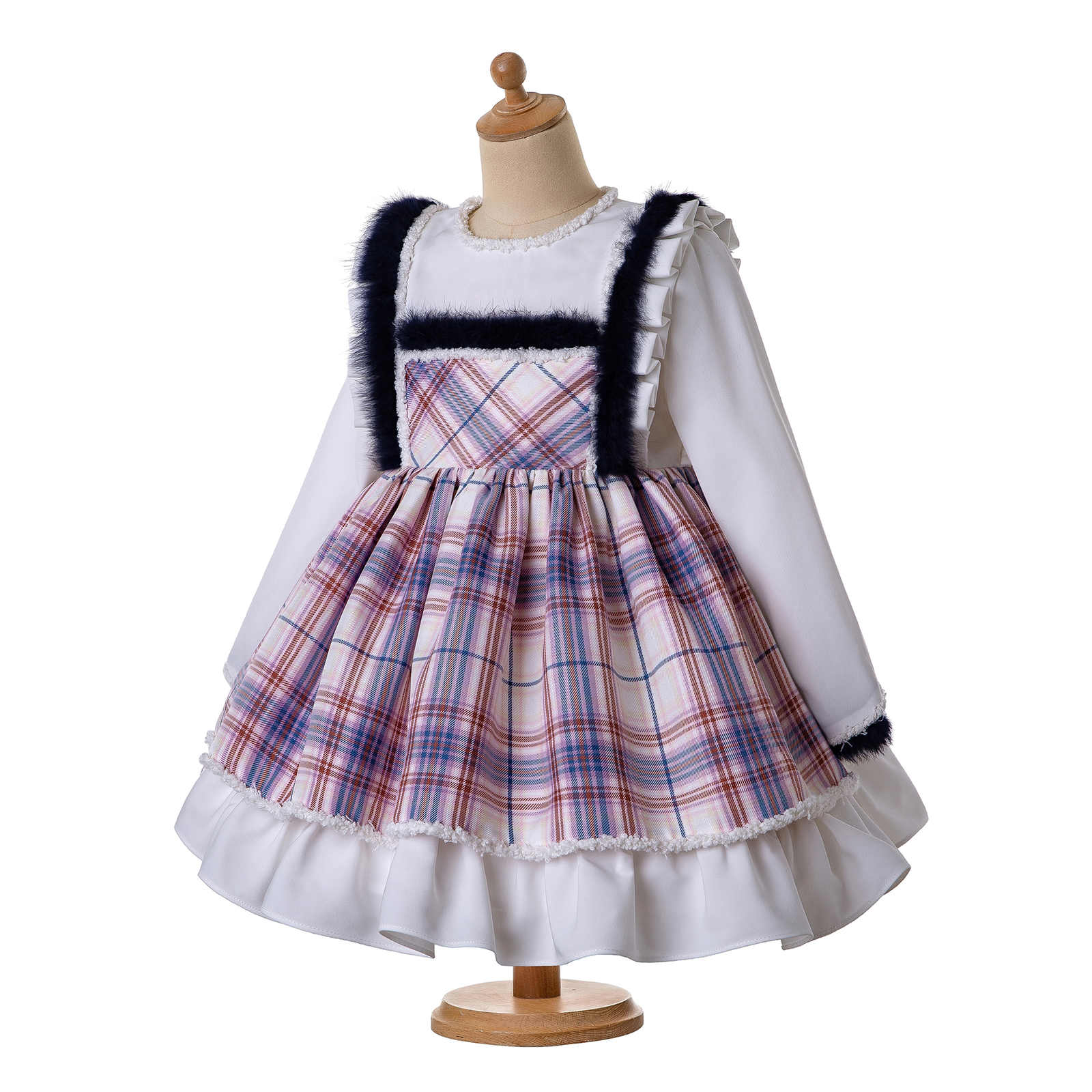Tartan Kid Girl Spanish Pleat Dress Headband Set School Communion Birthday 3-12Y