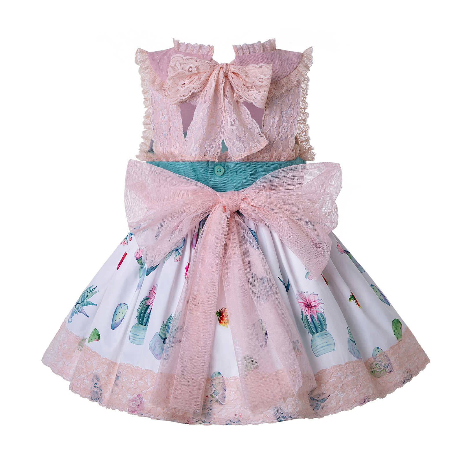 Baby Girls Bow  Lace Pearl Party First Communion Birthday Dress w// Bonnet ZG9