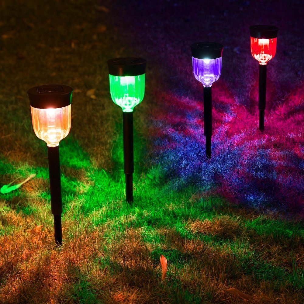 Solar Ed Led Outdoor Decorative Garden Lights Color Changing Path Way Lamp