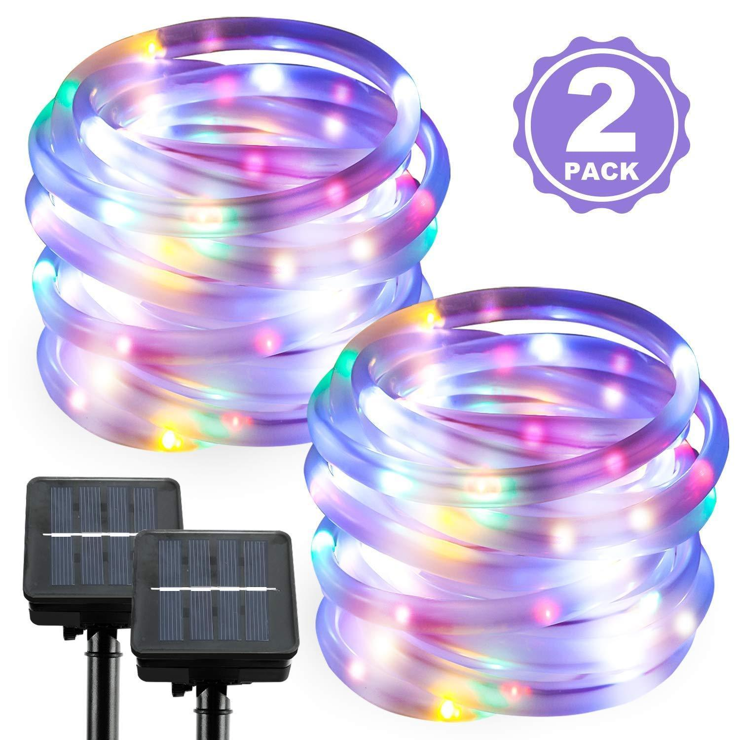 Details About 39ft 100 Leds Solar Ed Waterproof Outdoor Led Rope Lights Xmas Garden Lamp