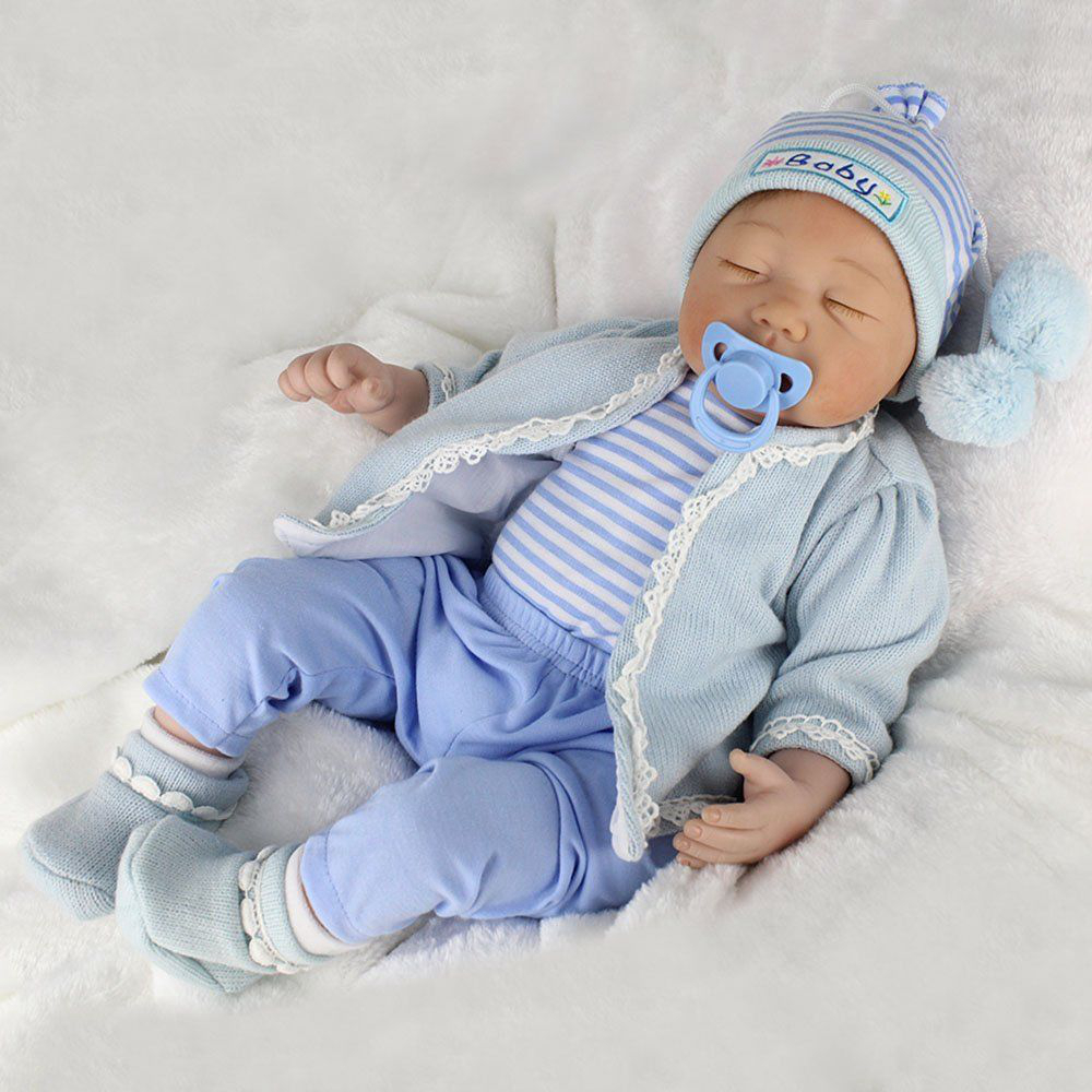 22/'/' Reborn Dolls Vinyl Silicone Newborn Baby Boy Doll Handmade Gift Toy+Clothes