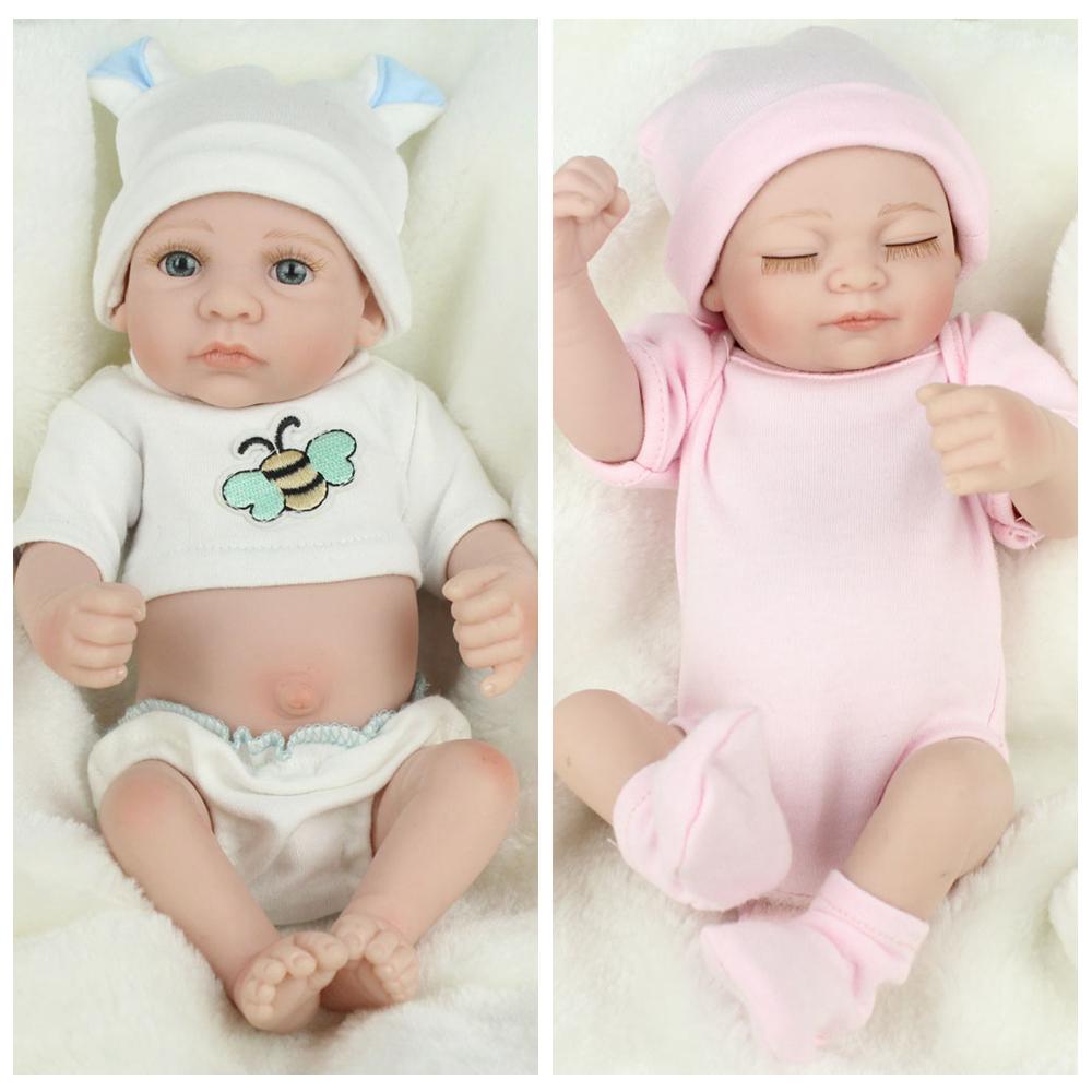 """Newborn Preemie Doll 10/"""" Twins Baby Dolls Lifelike Full Body Vinyl Silicone Gift"""