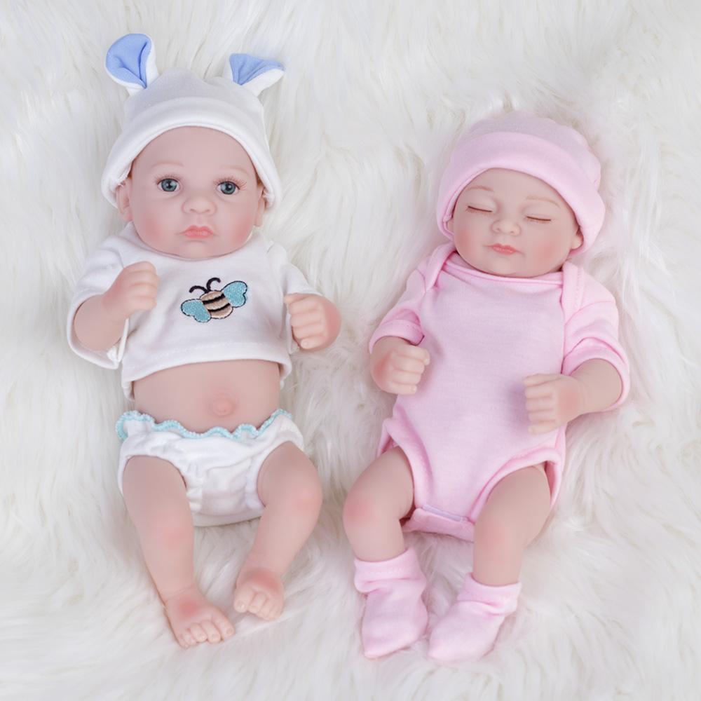 10 Inch Twins Dolls Realistic Silicone Vinyl Newborn Babies Reborn Baby Xmas Toy
