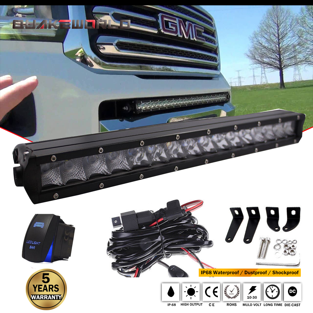 17 INCH 80W Combo LED Single Row Light Bar spot Flood For ATV Tractor Offroad