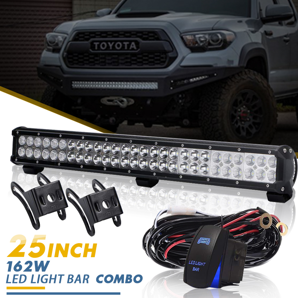 Details About 25inch Led Light Bar Spot Flood For 4wd Dodge Ram 1500 2500 3500 Driving Lamp