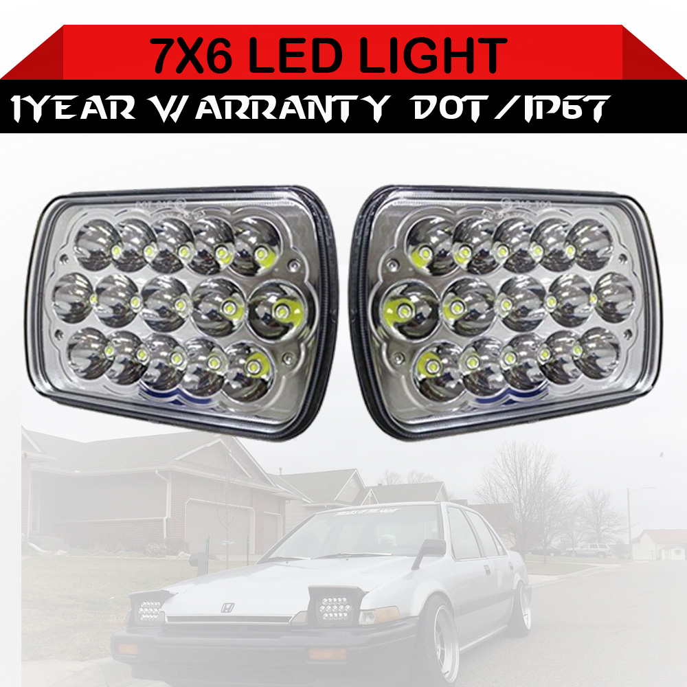 """7/"""" 7x6 SQUARE BLACK CLEAR PROJECTOR HEADLAMPS+H4 LIGHT BULB FITS DODGE//CHEVY"""