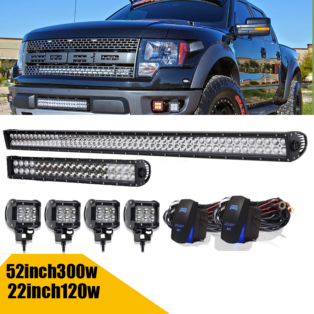 """50 inch Led Light Bar 4x 4/"""" Led Pods CREE Truck SUV ATV UTE 4WD Jeep Ford 52//3"""