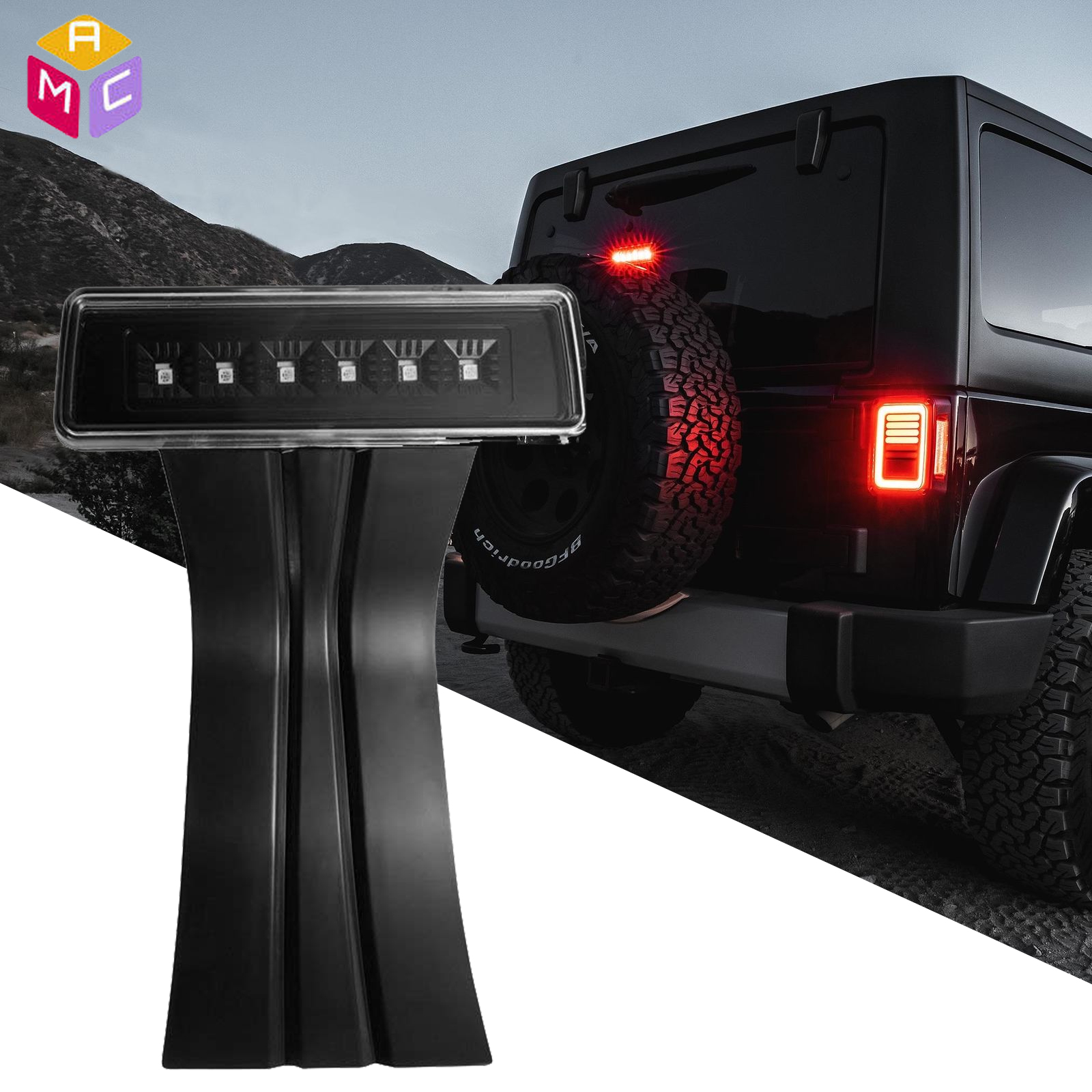 Details about For 07-17 Jeep Wrangler JK Rear Tail Mount LED 3rd  Brake/Third Stop Light Smoke