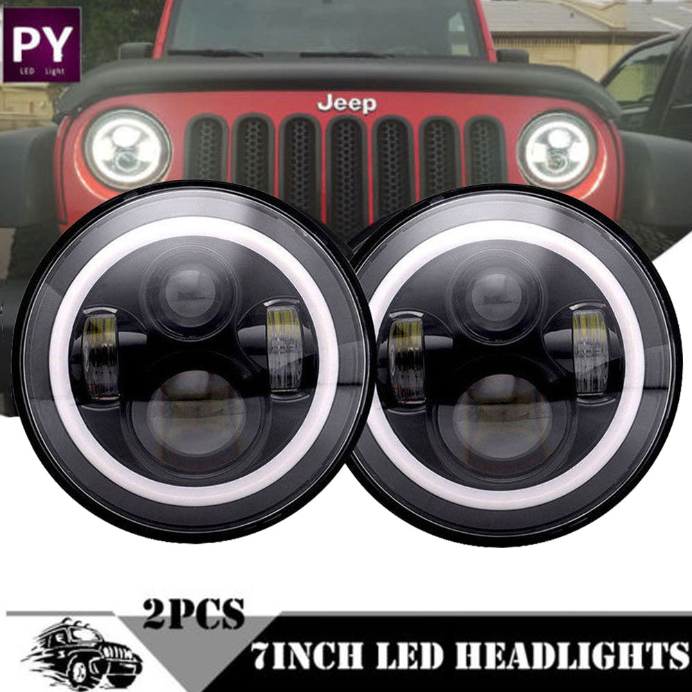 Details About For 2007 2017 Jeep Wrangler Jk 7 Inch 60w Hi Lo Led Headlight Combo Kit 2pcs