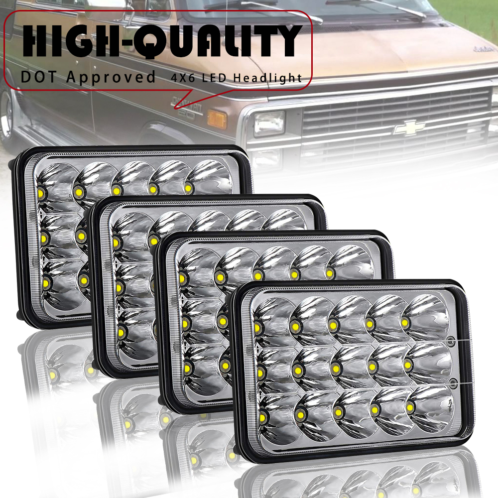 4x LED Glass Replacement Headlights For Chevy Chevrolet Camaro 1993-1997