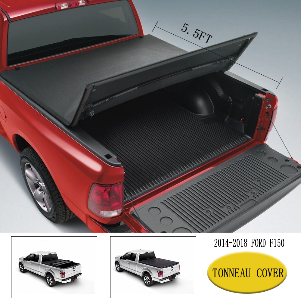 """Premium Lock Roll Up Soft Tonneau Cover Fit 2015-2018 FORD F-150 5.5/' FT 66/"""" Bed"""