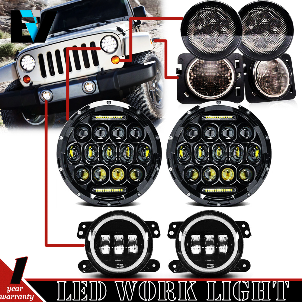 Jeep Wrangler Led Headlights >> Details About For 2007 2018 Jeep Wrangler Jk Led Headlights Fog Light Turn Combo Kit
