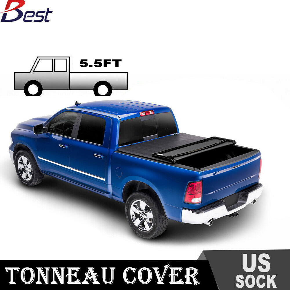 For 2014 2018 Ford F150 5 5ft Vinyl Truck Bed Soft Tri Fold Tonneau Cover Us Rainbowlands Lk