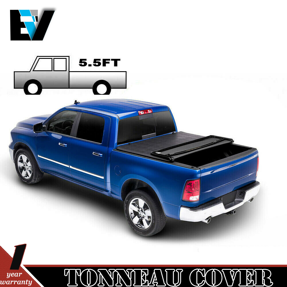 5.5ft Soft Tri-Fold Tonneau Cover Truck Bed Cover W// Light For 14-18 Ford F150