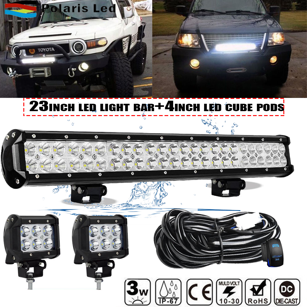"""52Inch Curved LED Light Bar 4X 18W 4/"""" CREE PODS SUV 4WD FORD 20/"""" 126W LED Bar"""