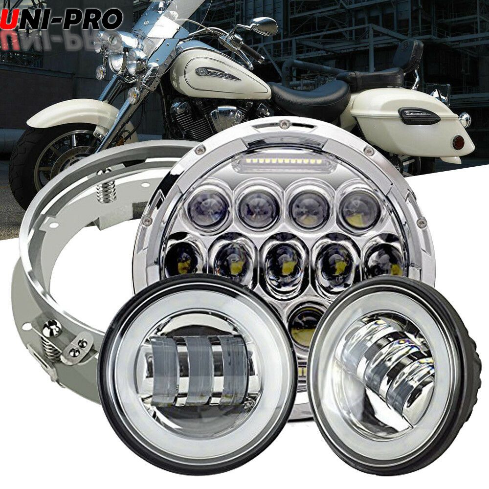 7 Quot Led Style Headlight Passing Lamp Fit Harley Davidson