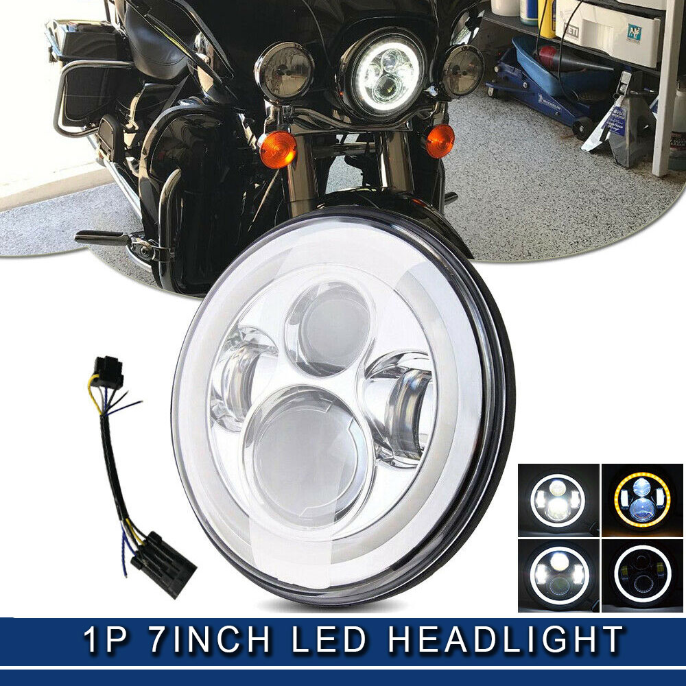 Details about 7'' Motorcycle Chrome Round Projector HID Hi/Lo LED Headlight  For Harley Jeep