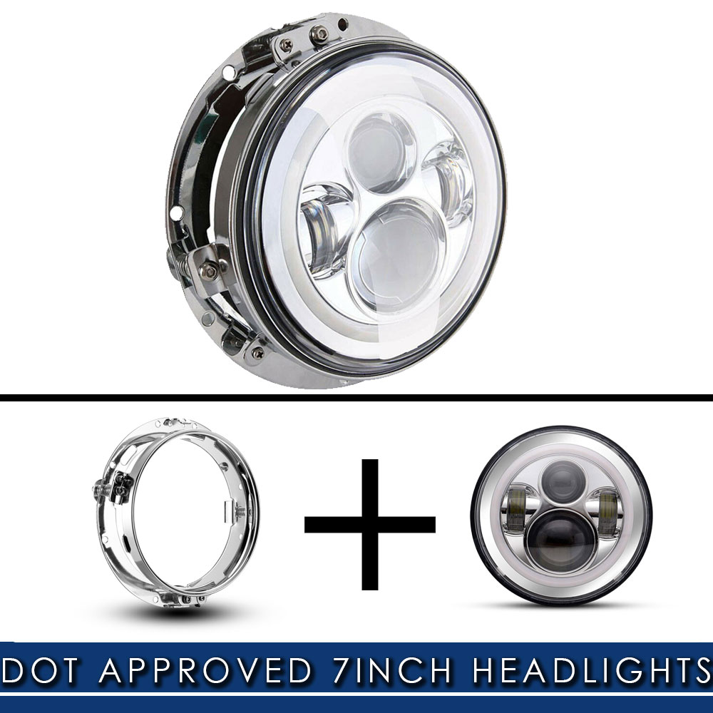 Silver 7inch Round Headlight Ring Mounting Bracket and 7 inch LED Headlight Wire Harness Adapter for Street Glide Road King Electra Glide Headlight Mount
