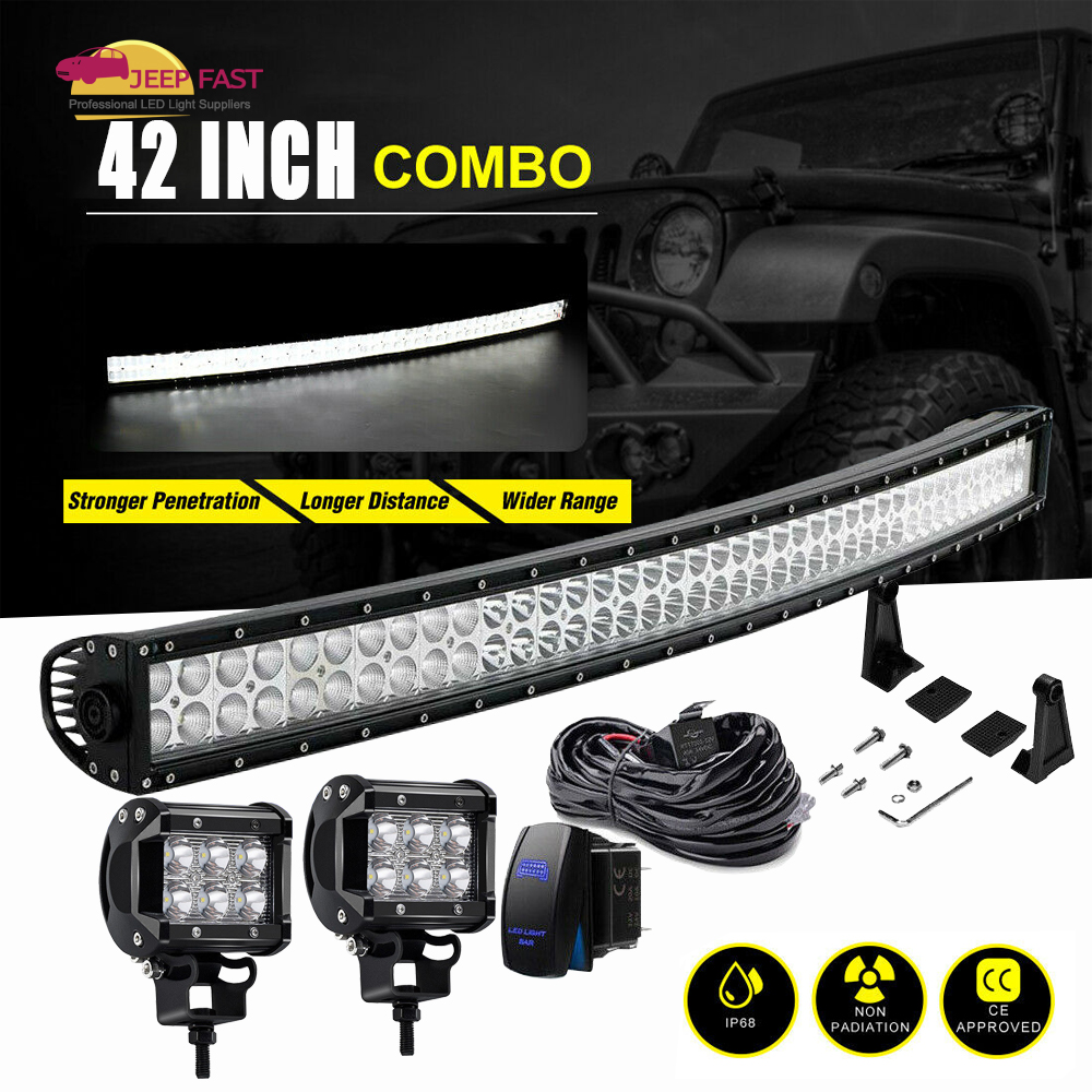 2X 54W 9INCH  LED Light Bar Combo Tractor Offroad Snowmobile Bumper Pickup
