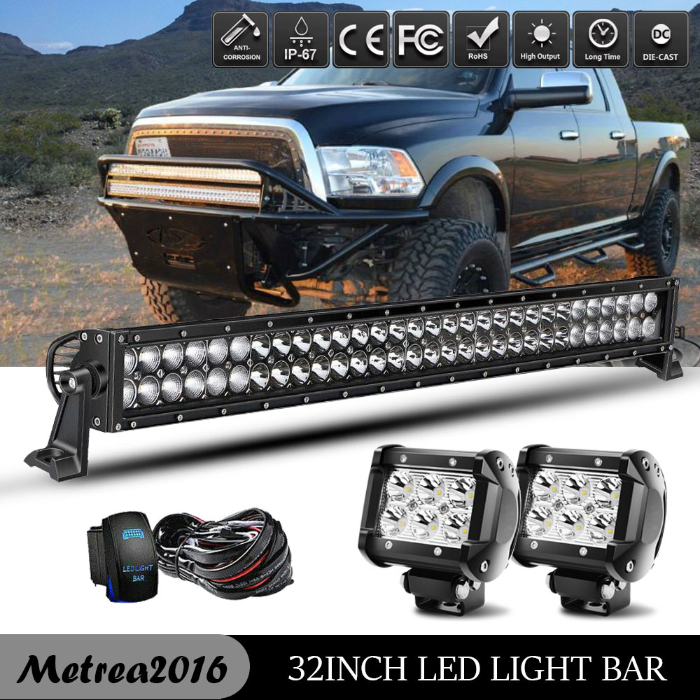 "Dual Row 180W 30/"" 32/"" LED Offroad Light Bar Fit 03-18 Dodge Ram 2500 3500 Bumper"
