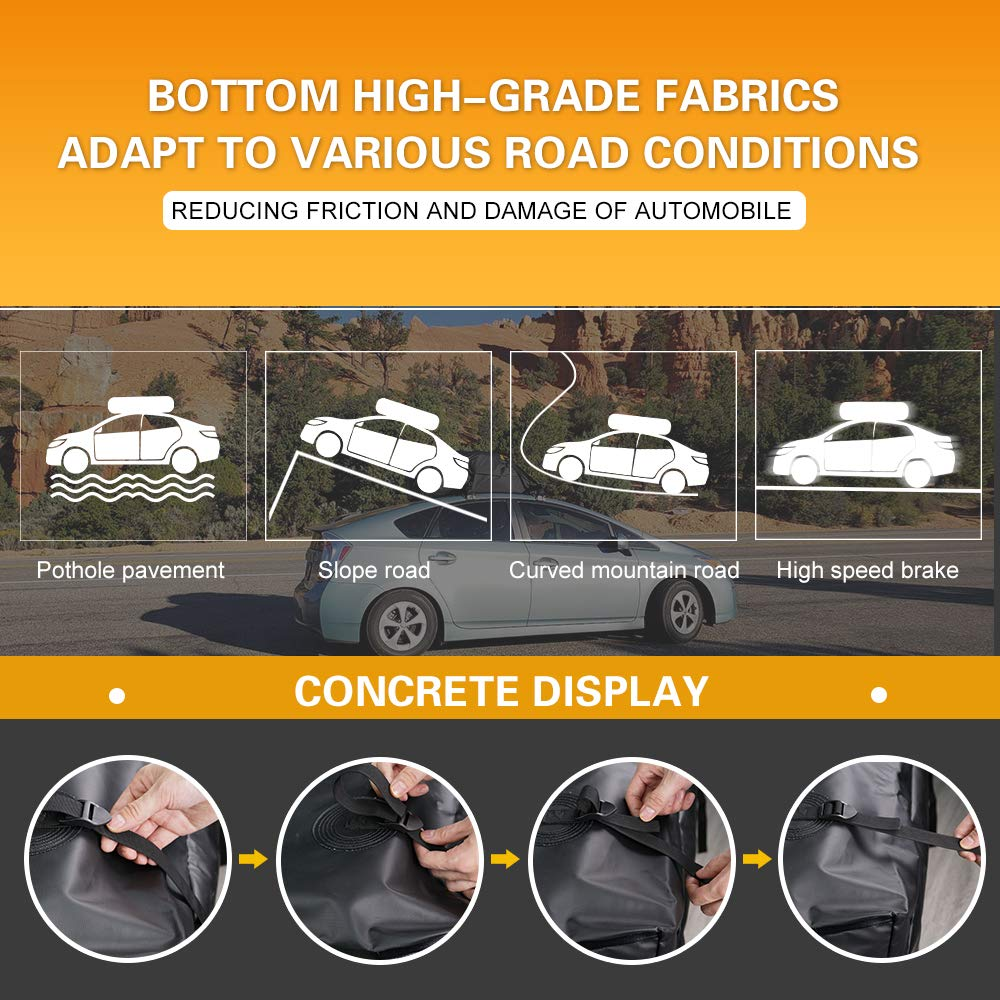 15 Cubic Feet Waterproof Top Carrier Roof Cargo Luggage Storage Travel Bag Fit All Car Truck SUV Van With or NO Side Rails Roof Racks Cross Bars For Toyota Chevrolet Subaru Ford Nissan Honda QUAKEWORLD