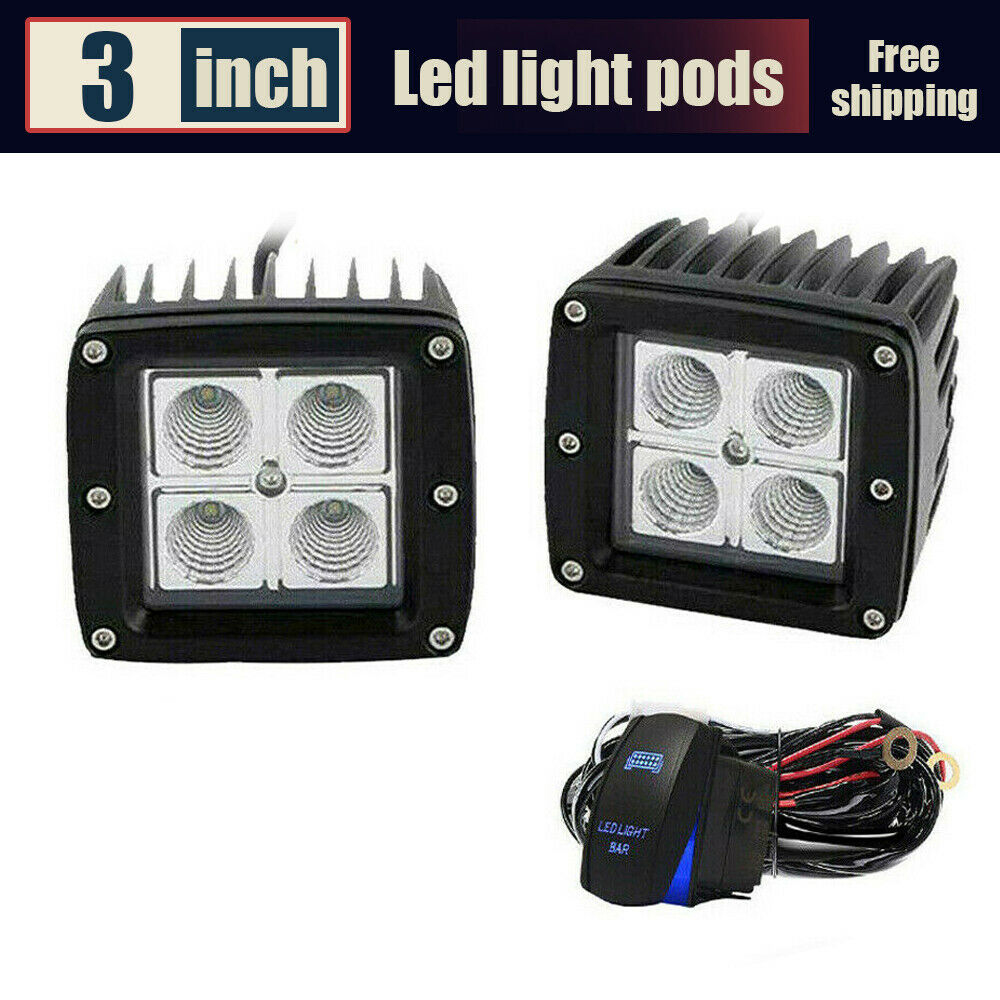2X 3inch 16W LED Work Light Flood Cube Pods Off-road For Boat ATV Lamp