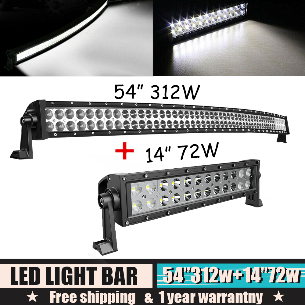 """For 99-15 Ford F250//350 Super Duty 54/"""" 312W CURVED LED LIGHT BAR COMBO OFFROAD"""