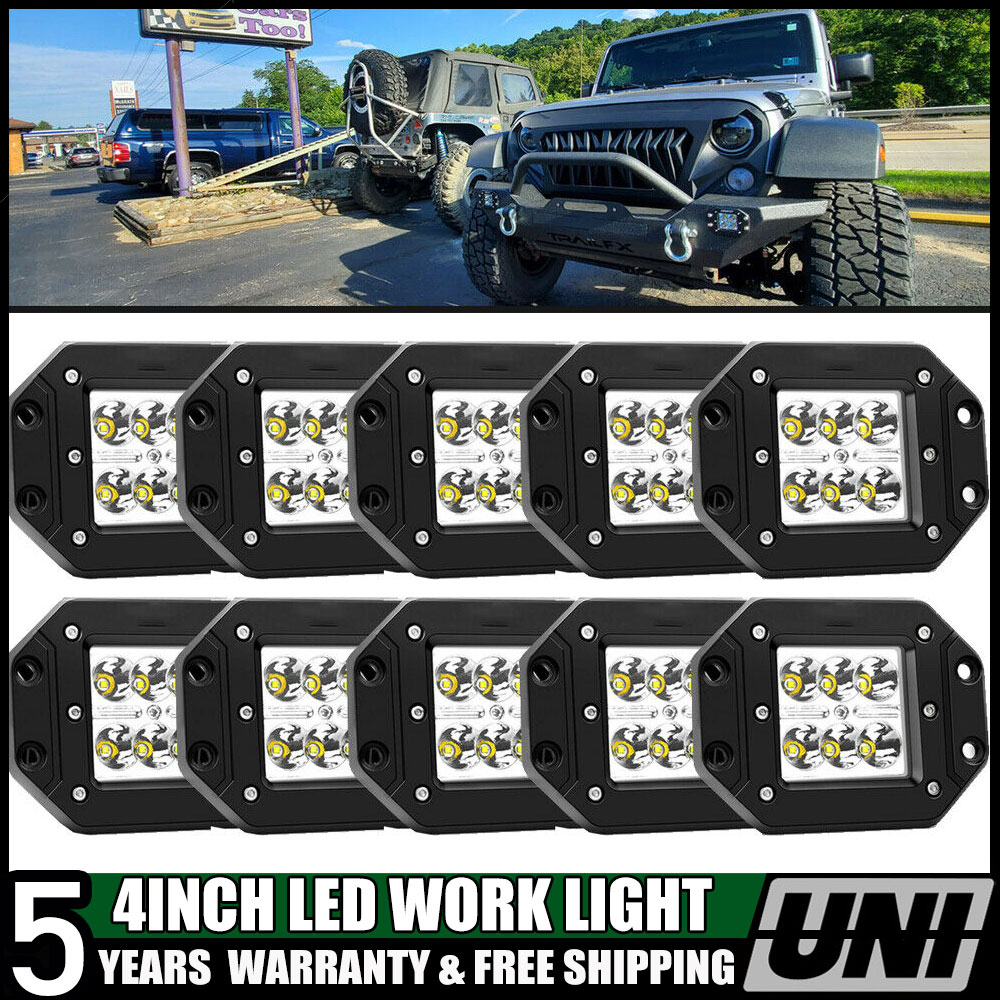 10X 5/'/' 72W Square LED Cube Pods Work Light Spot Flush Mount Off-road Truck Jeep