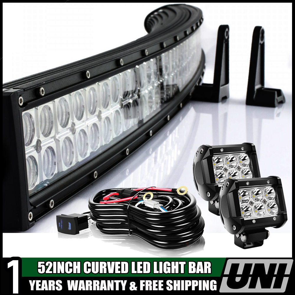 """2X 4/"""" 18W Pod Lights 52inch 300W Combo LED Light Bar Offroad with Wiring Kit"""