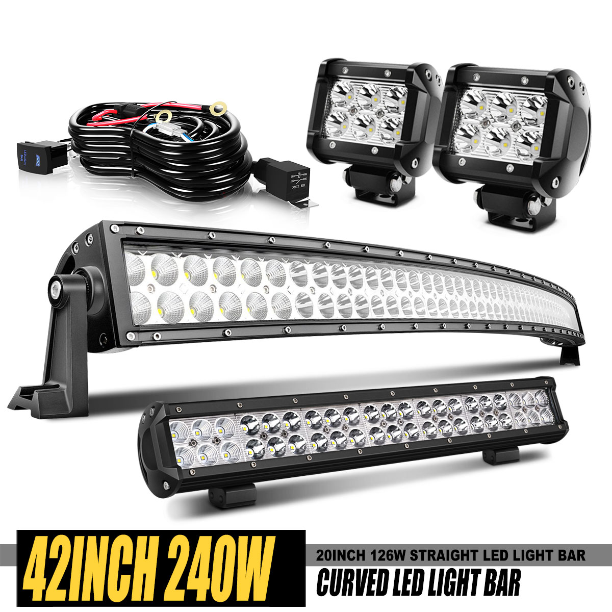 50inch 288W Curved LED Work Light Bar 42inch 240W+4X 18W Pods Offroad SUV 4WD