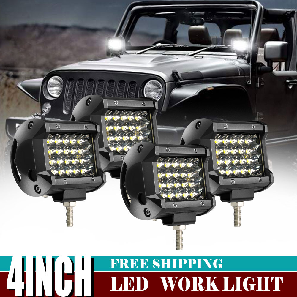 """4x 4/"""" Led Work Light Bar Total 72W Cube Pods Offroad Driving Lamp Boat Truck 4WD"""