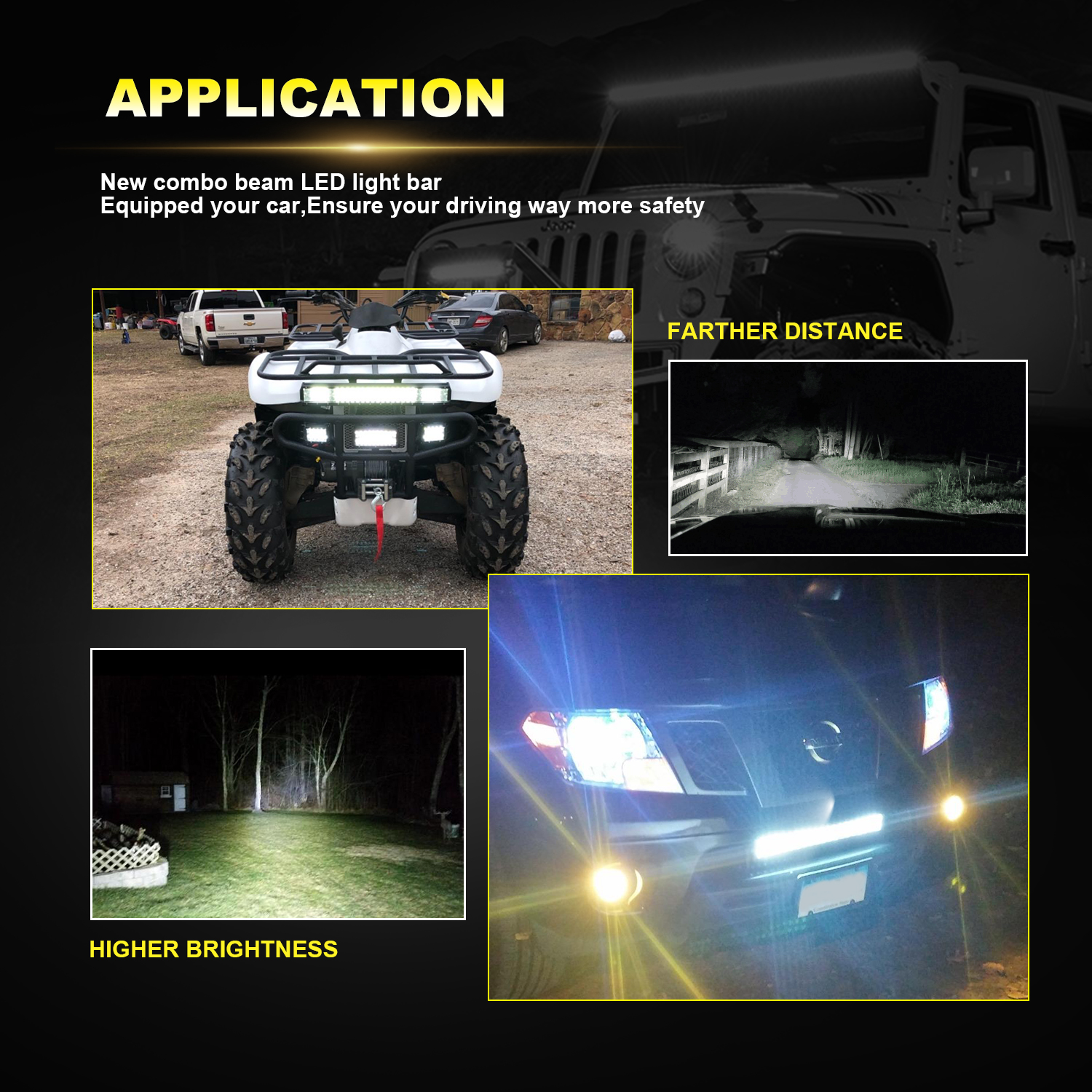 42inch Straight LED Work Light Bar Spot Beam Offroad Fog Driving Lamp Dual Color