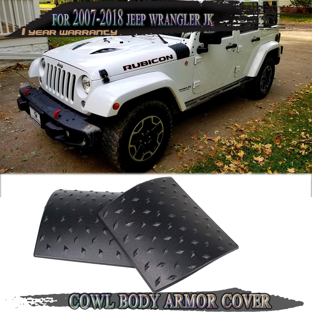 Black Cowl Body Armor Cowling Cover for 2007-2018 Jeep JK Wrangler /& Unlimited
