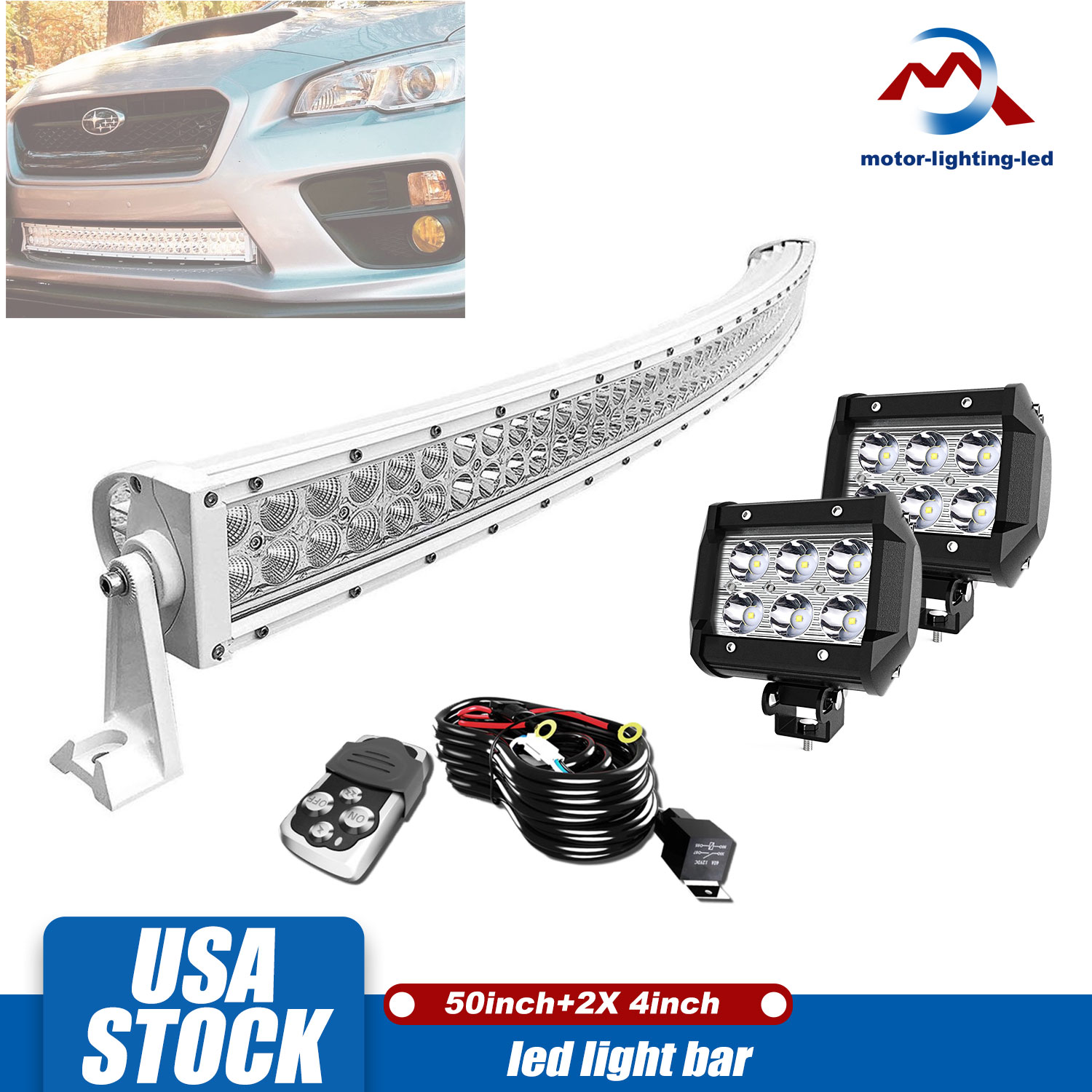 """2X CURVED 50/"""" 288W Flood Spot Combo LED Work Light Bar Driving Lamp SUV 4WD UTE"""