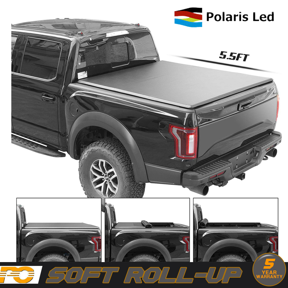5 5ft Truck Bed Roll Up Soft Tonneau Cover For 2014 2018 Ford F 150 Telesto Gr