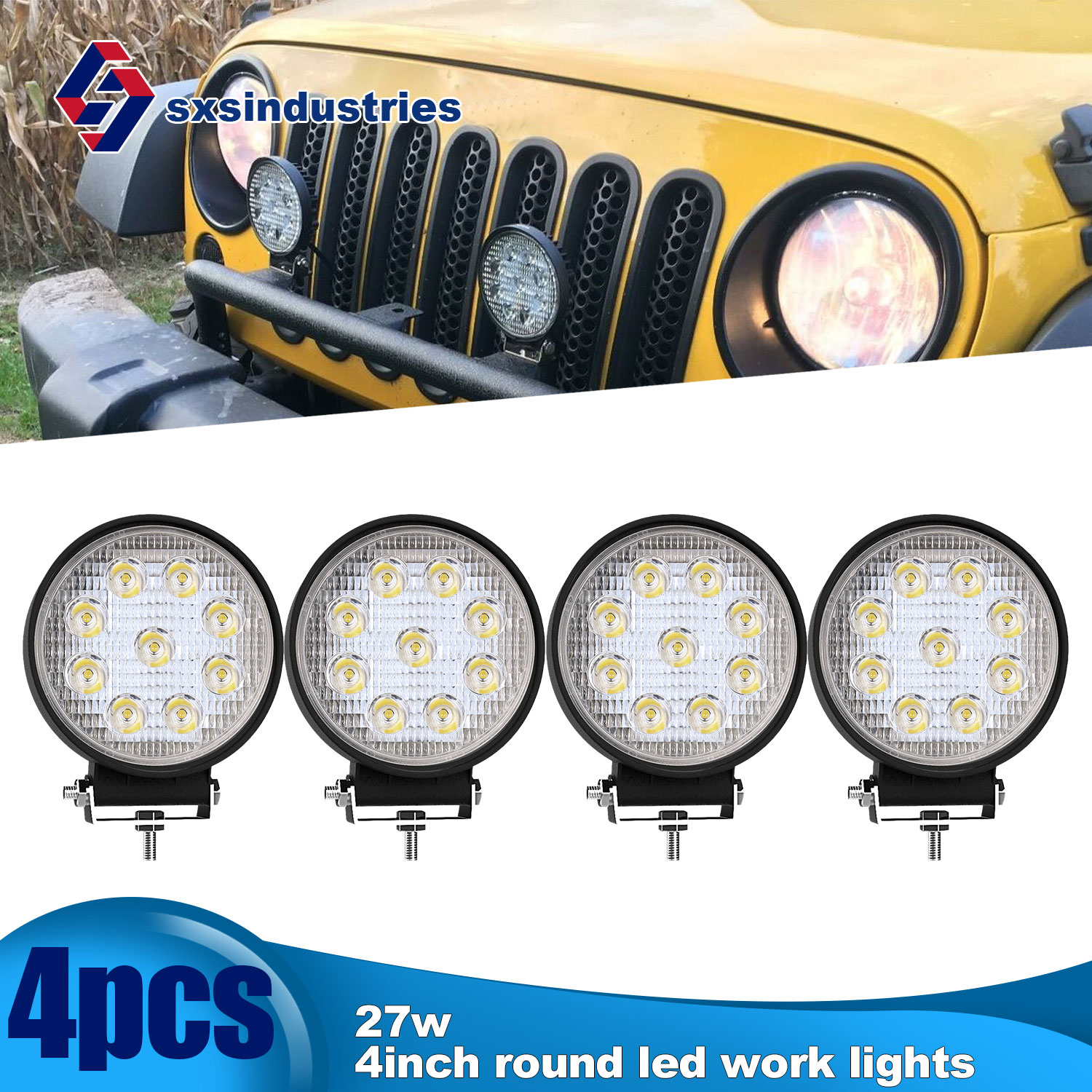 10Pcs 4/'/' 48W LED Round Flood Work Light Offroad Truck Car SUV ATV Driving Lamps