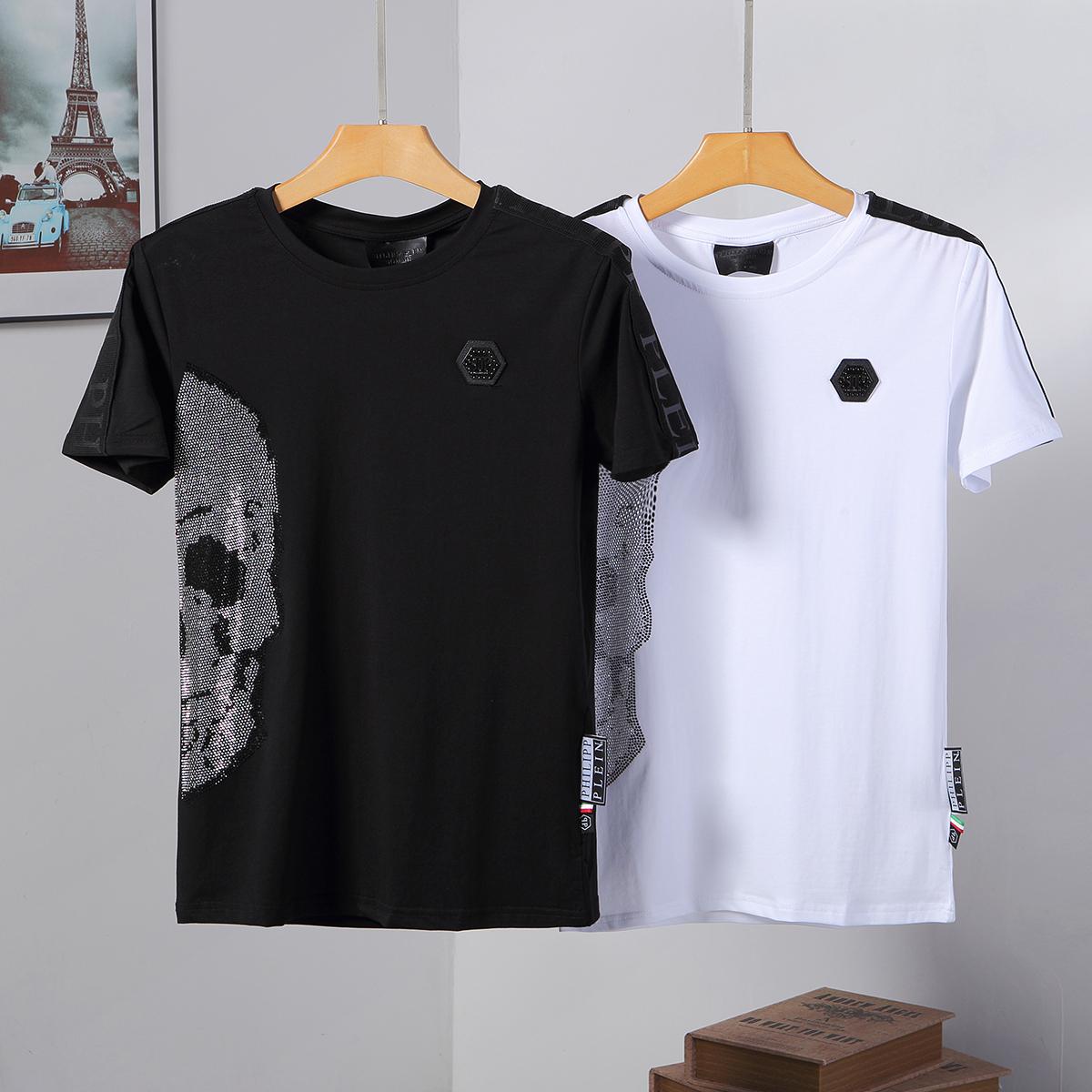 PHILIPP PLEIN Black Letters Men Casual Anti-Collar T-shirt P888002# Size M-3XL