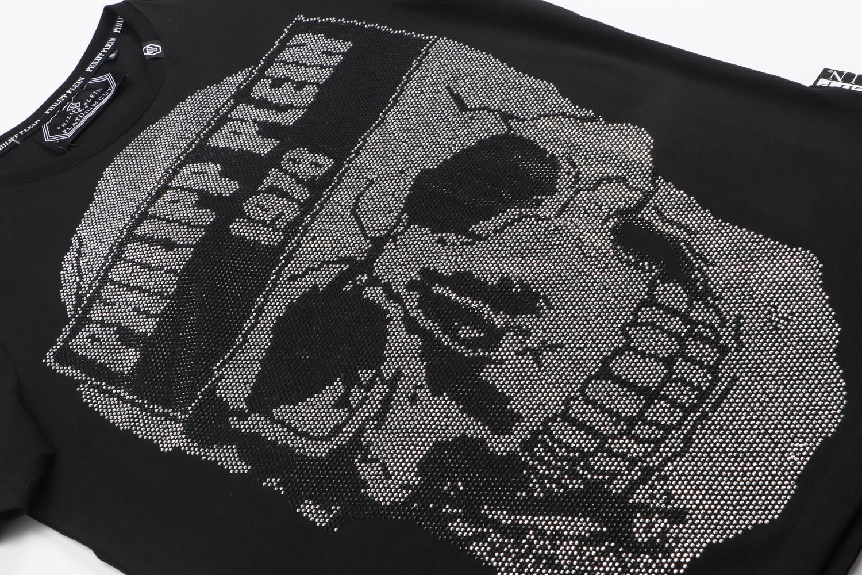 PHILIPP PLEIN Black T-shirt Skull Beading Men Casual Sports Tee M-3XL P9969