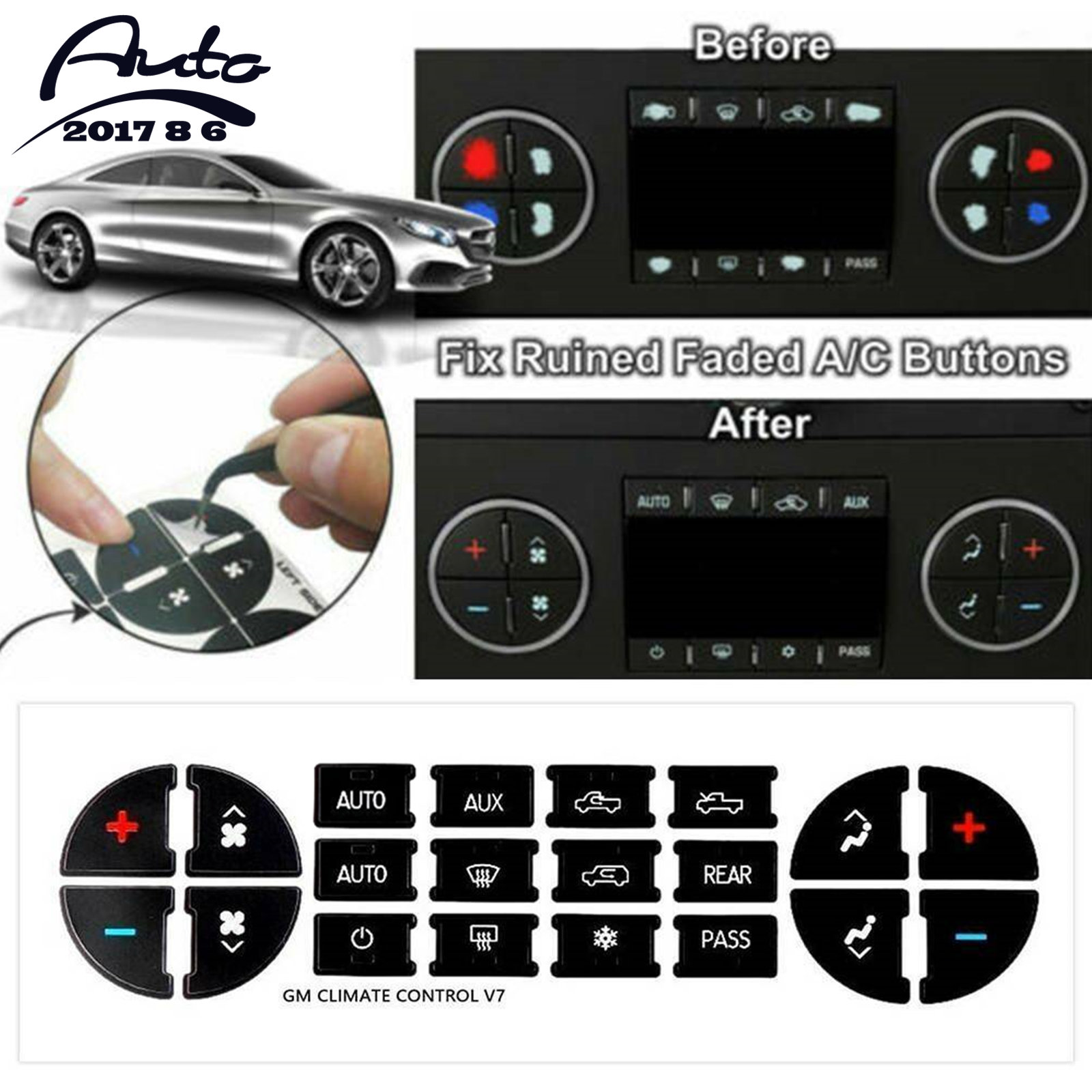 AC Radio Control Button Stickers Kit Decal Dash Repair For Chevrolet GMC Tahoe