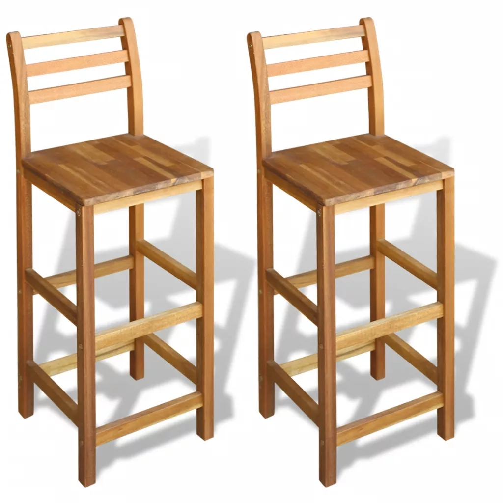 Details About Pair Of Backrest Breakfast Bar Stools Pub Wooden Kitchen High Chairs Footrest