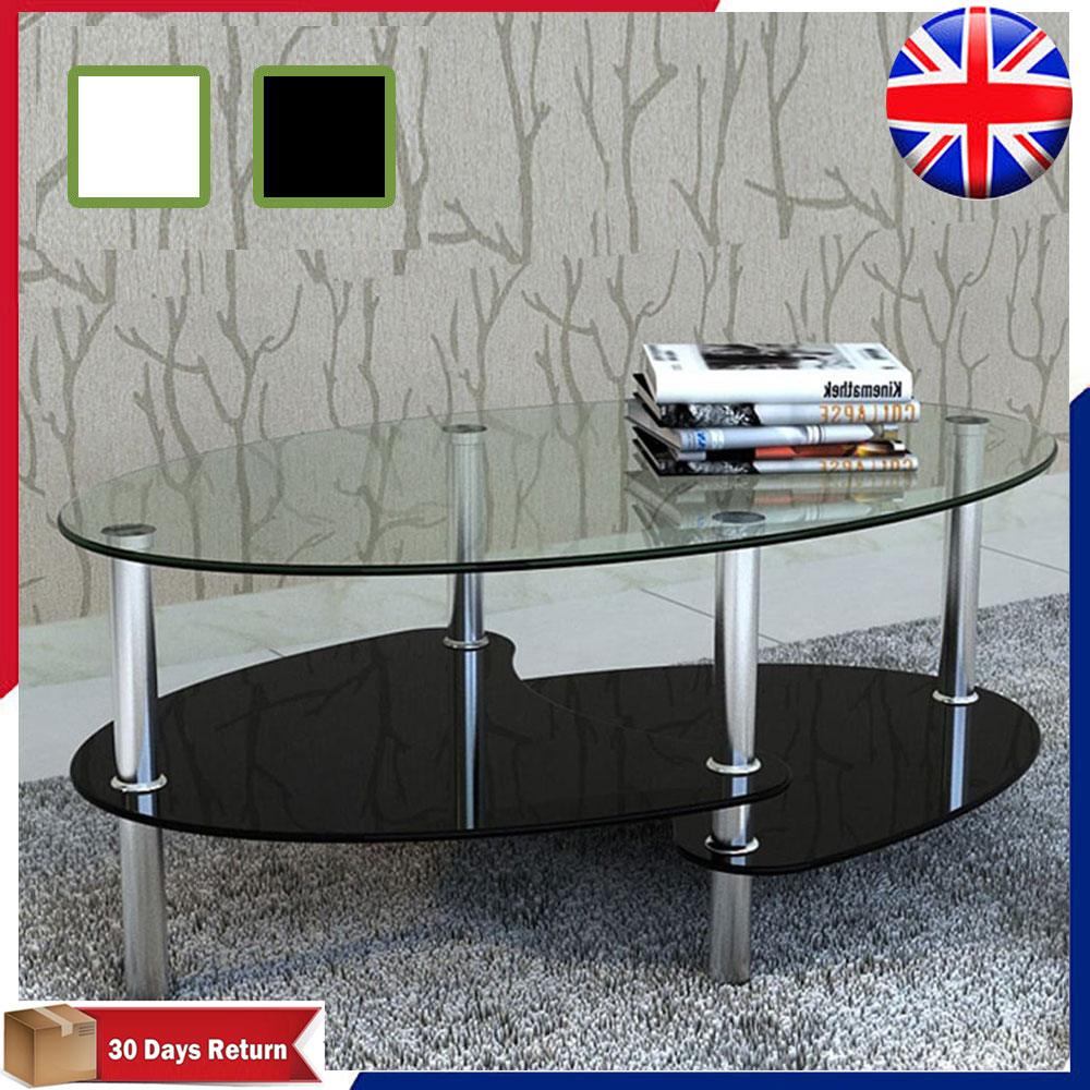 Modern Oval Glass Living Room Coffee Table With 2 Shelves Stand