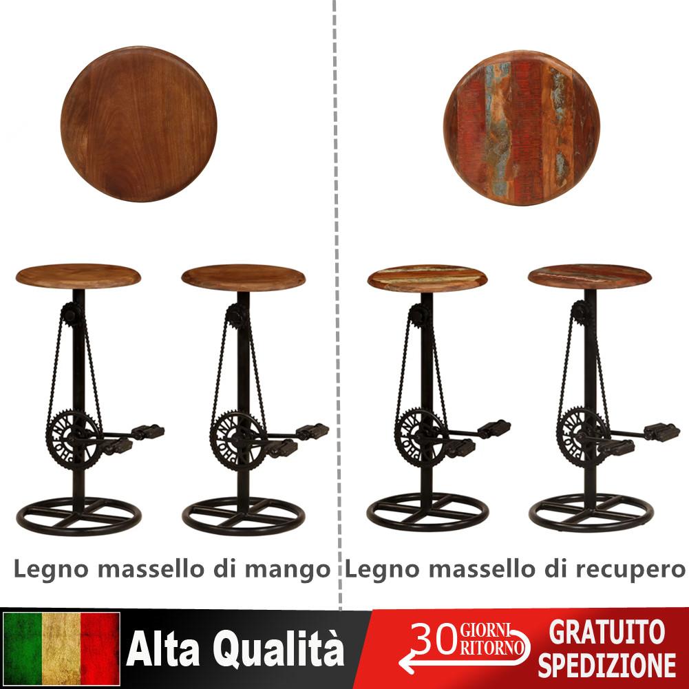 Dettagli su 2x Sedie da Bar Legno Massello di Recupero Mango Sgabelli Alti Angolo Cucina
